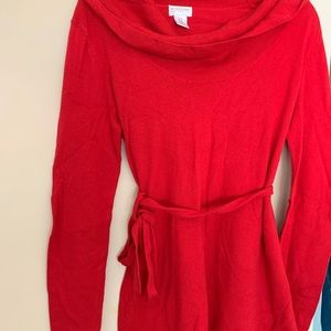Red sweater maternity tunic top